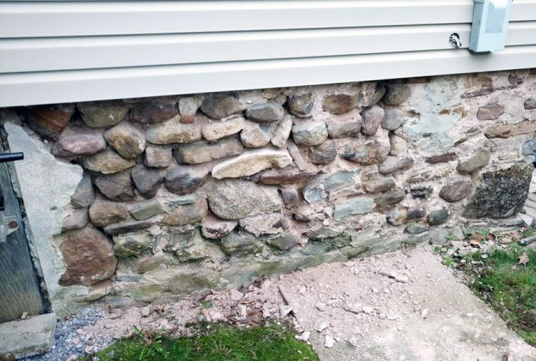Before Stone Foundation Parging or Pointing